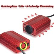 Spannungswandler 12V auf 230V mit 2 USB Anschlüssen, Zigarettenanzünder Stecker und Eurosteckdose