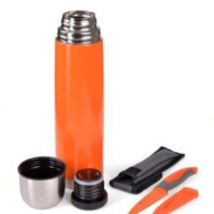 Thermoskanne, Isolierflasche mit Allzweckmesser orange