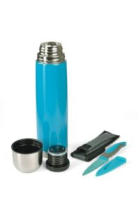 Thermoskanne, Isolierflasche mit Allzweckmesser türkis