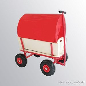 Bollerwagen Handwagen Transportwagen Handkarren mit Luftbereifung mit Dach Farbe rot