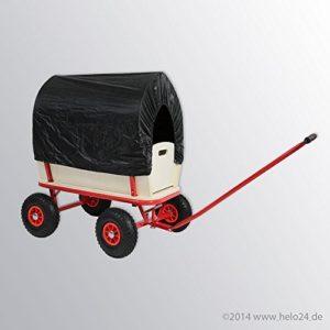 Bollerwagen Handwagen Transportwagen Handkarren mit Luftbereifung mit Dach Farbe schwarz